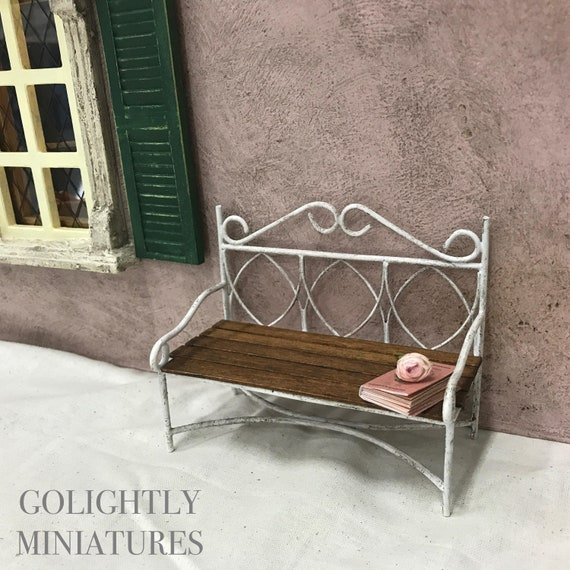 Prime Wrought Iron And Wood Garden Bench French Dollhouse Furniture Miniature Shabby Chic 1 12 Scale Ibusinesslaw Wood Chair Design Ideas Ibusinesslaworg