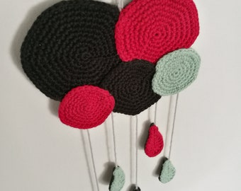 Mobile Wall clouds and raindrops - Crochet - handmade