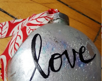 """Simply handcrafted """"LOVE"""" disc ornament"""