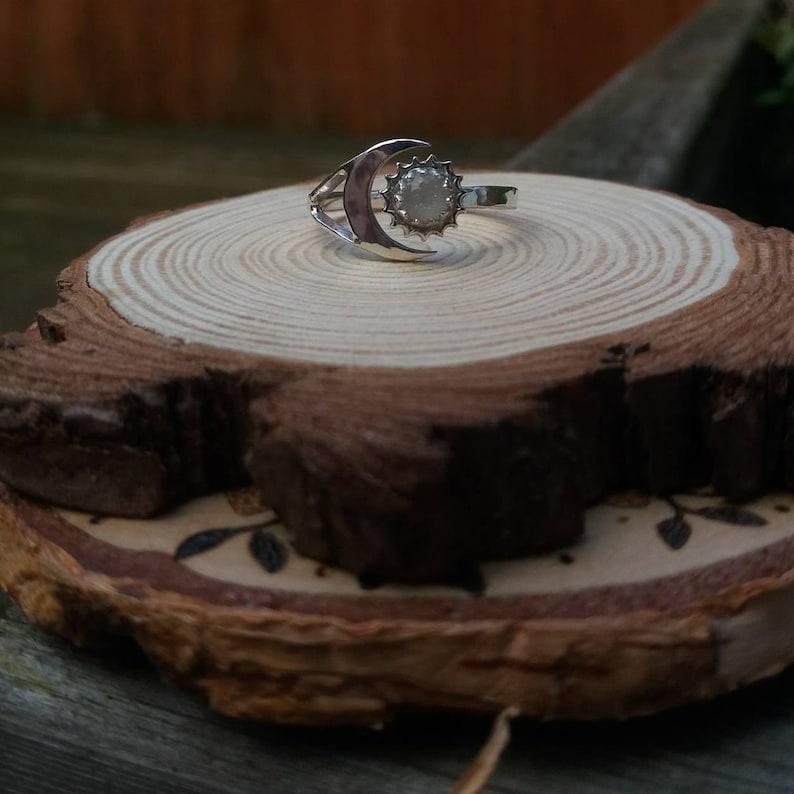 Sun and Moon Ring Gemstone Ring Lock of Hair Ring Pet Cremains Ring Pet Cremation Ashes Ring Keepsake Ring Memorial Ring Breastmilk Ring