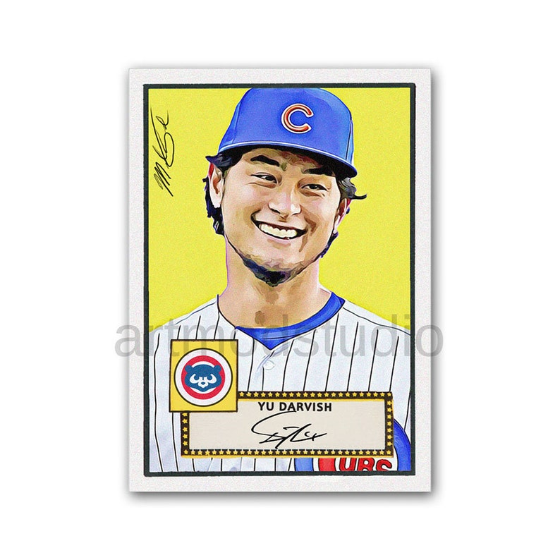 1952 Yu Darvish Topps Style Baseball Card Original Sketch Art Glicee Print Chicago Cubs Collectible Gift Limited To 50