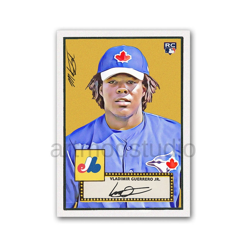1952 Vladimir Guerrero Jr Topps Style Original Sketch Art Baseball Card Glicee Print Toronto Blue Jays Rookie Card Rc Limited To 100