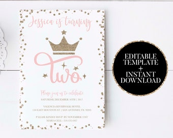 3rd Birthday Invitation Template Pink And Gold Princess Etsy