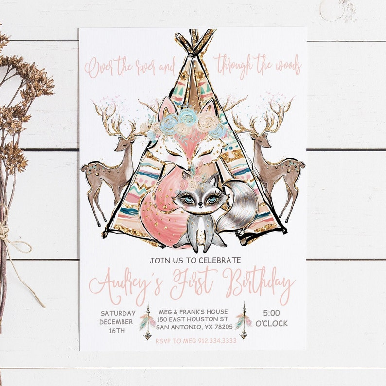 Boho 1 Year Old Birthday Invite Woodland First