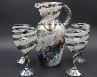 Artisan Hand Blown Glass Pitcher Set by Golden Octopus - w/ 4 Glasses (White/Chocolate Twisted Luster) 110oz Made from Recycled Glass