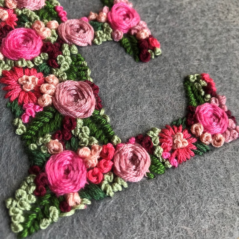 Floral Letter E HandEmbroidery Pattern Digital PDF Download  Instant Download Floral Hand Embroidery  Instructions /& Letter pattern PDF