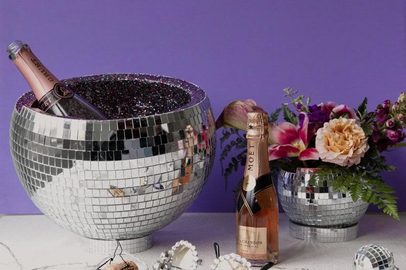 12 Inch Custom Disco Ball Ice Bucket. Champagne Bucket. Bar image 0