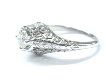 Fine Vintage Old European Cut Diamond Solitaire Engagement Ring .55Ct