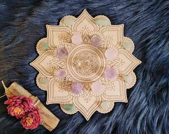 Mandala Crystal Grid, Mandala Engraved Wooden Board for Travel, Altar Decorations