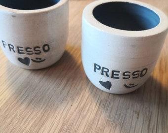 "Espresso cup ""presso"" handmade on the potter's wheel. Ceramic design. Handmade espresso cup. Wheel thrown. White clay, Charcoal glaze."