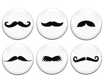 6x Moustache - Movember 25mm / 1 Inch D Pin Button Badges