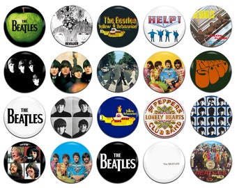 20x The Beatles Band Rock Pop 60s Psychedelia John Lennon Paul McCartney George Harrison Ringo Starr 25mm / 1 Inch D Pin Button Badges