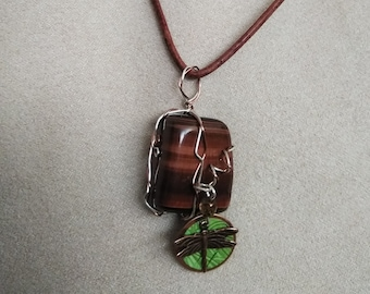 Red Tigers Eye on leather cord