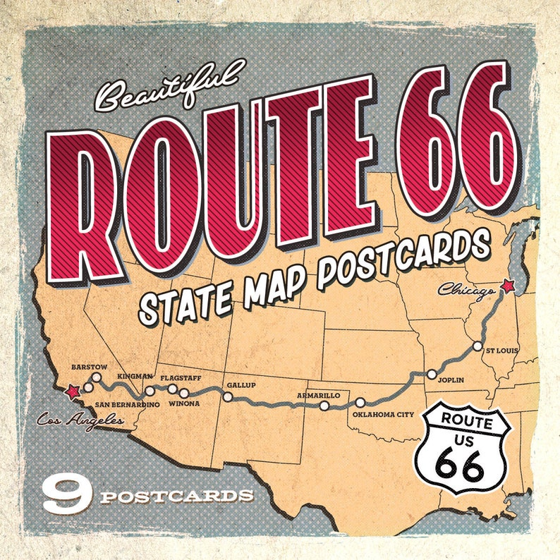 Route 66 State Map Postcards | Set of 9 | 4x6 on friend kansas map, iowa kansas map, wichita kansas map, google kansas map, zip code kansas map, downtown kansas city map, old kansas city map, cartoon kansas map, vintage kansas map,