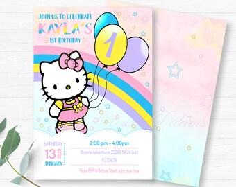 Sensational Hello Kitty Birthday Party Hello Kitty Package Hello Kitty Etsy Birthday Cards Printable Nowaargucafe Filternl