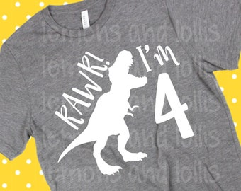 RAWR Im 4 Svg 4th Birthday Shirt One Kids Boy Or Girl I Am Four Tshirt Year Old Sillouhette Circut Vinyl File