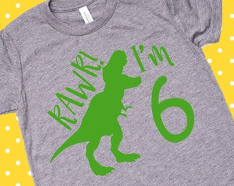 RAWR Im 6 Svg 6th Birthday Shirt One Kids Boy Or Girl I Am Six Tshirt Year Old Sillouhette Circut Vinyl File