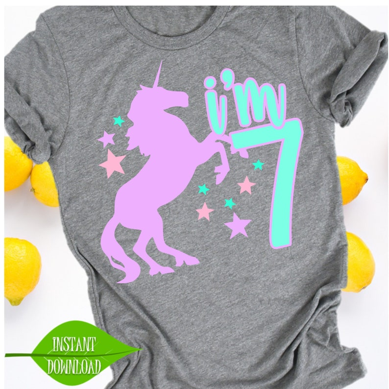7th Birthday Shirt Unicorn Svg 7 Year Old Kids