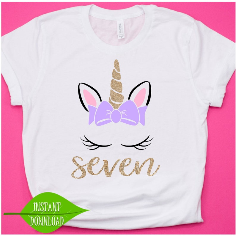 7th Birthday Shirt Unicorn Svg 7 Year Old Kids