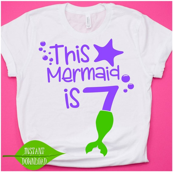 7th Birthday Shirt Mermaid Svg 7 Year Old Kids