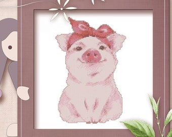 PINK PIG all materials Farmyard ~ Full counted cross stitch kit