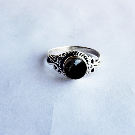 Stacking Ring Black Onyx Jewelry Black Onyx Ring Black Stone Ring Natural Black Onyx Gemstone Ring 925 Sterling Silver Ring Black Ring