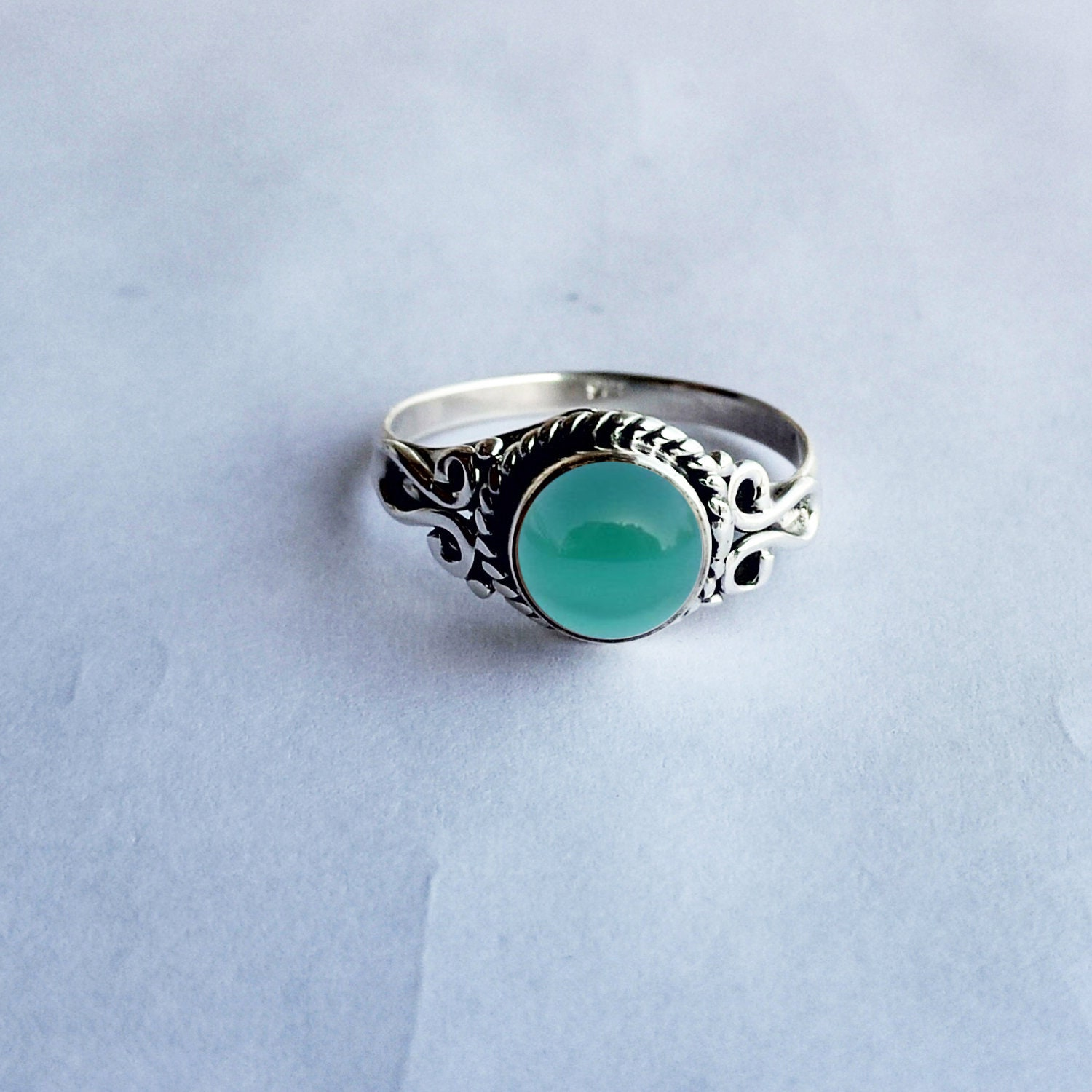 Details about  /925 Solid Sterling Silver Natural Green Onyx Handmade Fine Ring Women RS-1246