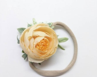 Peach Rose Headband Flower Hairband Photo Prop For All Occasions OOAK Handmade Floral Hair Accessories And More By Ryleighs Rose Boutique