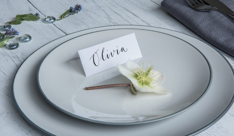 CLEAN range Wedding placename cards hand lettered modern calligraphy