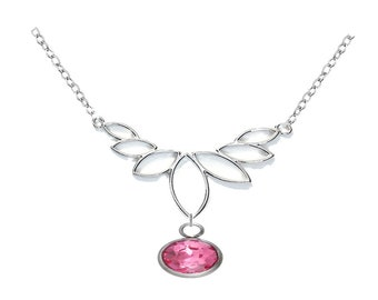 Leaf Filigree Pendant with Pink Charm