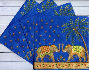 paper Napkins for Decoupage//Elephants//Scrapbooking//Card Making//Serviette//x2