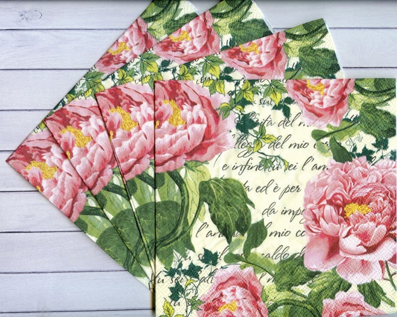 4 Paper Napkins Serviettes Pink Peonies Little Birds Romantic Pattern Crafts NEW