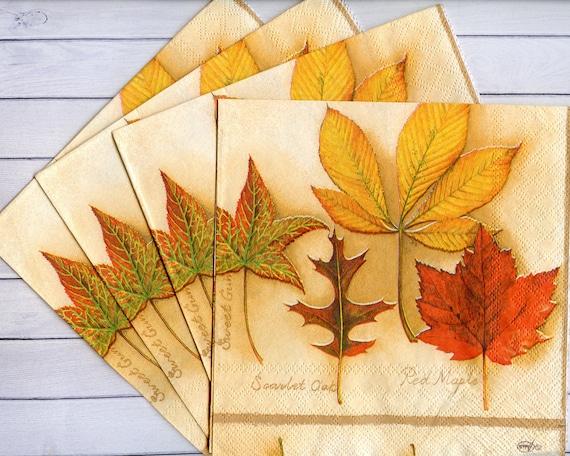 4 fall decoupage napkins Autumn leaves serviettes decoupage Fall tissue  napkins 13x13 inches Yellow orange leaves Craft paper napkins
