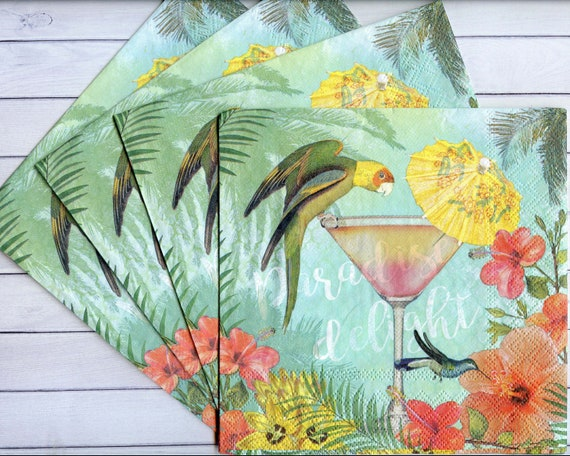 Tropical Leaves Napkin Art 4 x Paper Napkins Ideal for Decoupage