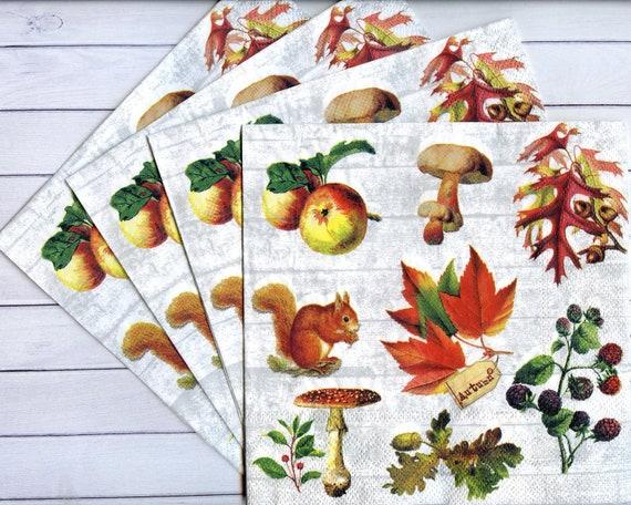 4 Herbst Servietten Herbst Blätter Pilze Eichhörnchen Nüsse Servietten Servietten Decoupage Herbst Gewebe Servietten 13 X 13 Zoll Handwerk Papier