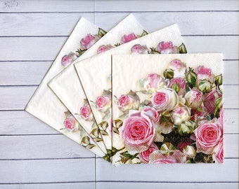 Set of 4 pink roses decoupage napkins Floral paper serviettes Summer flowers napkins decoupage 10 x 10 inch Craft tissue paper napkins