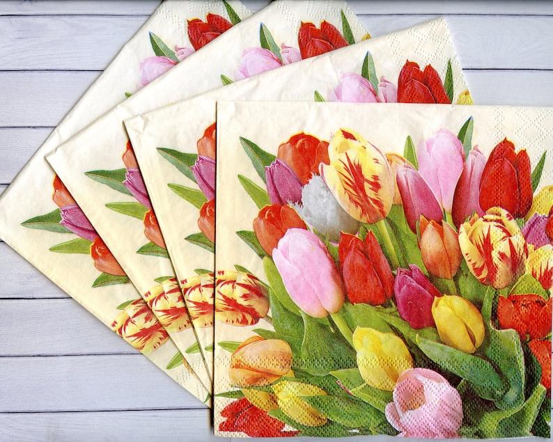 4 Tulip decoupage napkins Spring flower serviettes Spring paper napkin for decoupage 13x13 Craft paper Scrapbooking paper
