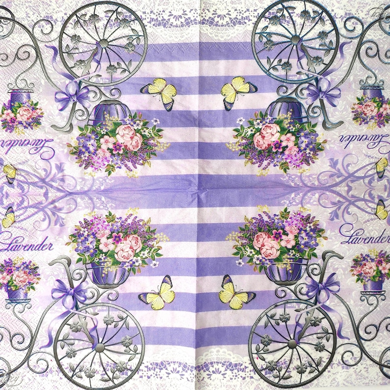 Set of 4 Vintage bike napkins for decoupage Retro bicycle flowers decoupage napkin Purple paper serviettes 33x33 Craft paper napkin