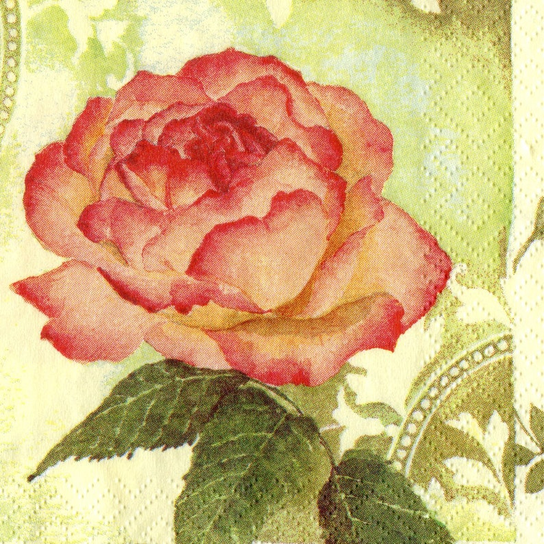 Set of 4 single red rose napkins for decoupage Floral paper serviettes Light green background 13 x 13 inch Craft tissue paper napkins