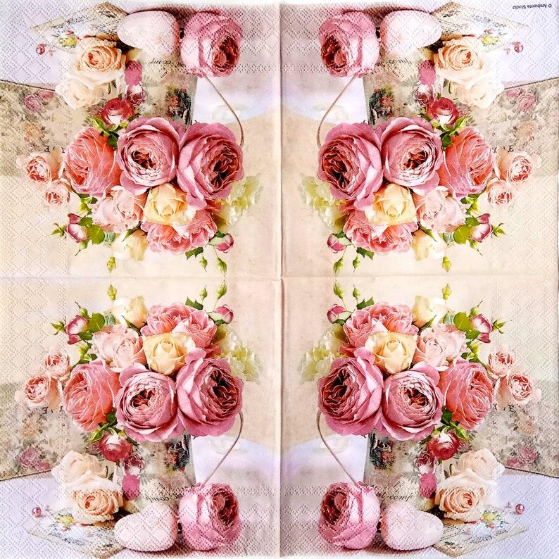 4 peonies and roses decoupage napkins Floral paper serviettes Pink flowers bouquet napkins decoupage 13 x 13 Craft tissue paper napkins