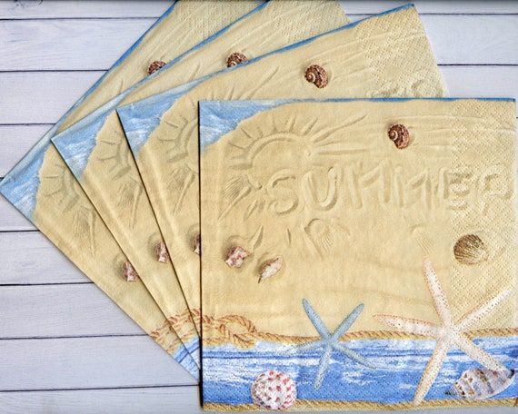 5 Napkins Sea Shells Starfish Beach Sand 33cm Tissue Decoupage Paper Party Craft