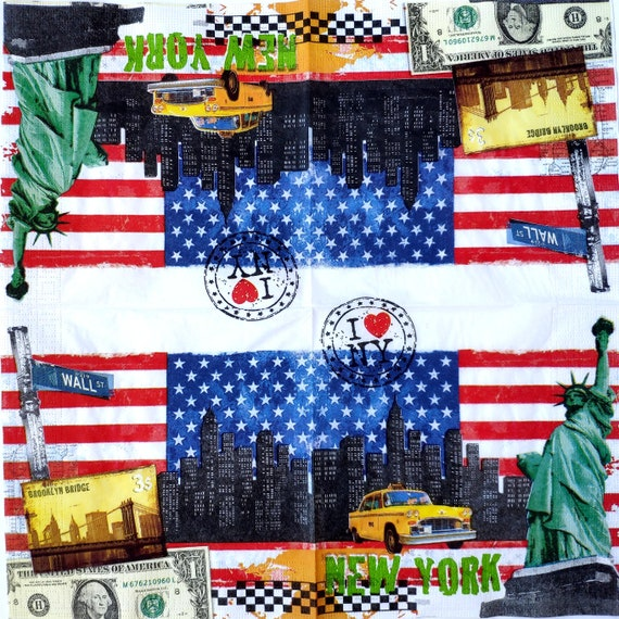 3 Decoupage Luncheon Napkins USA Flag Statue of Liberty New York Strong 13 x 13 Unfolded