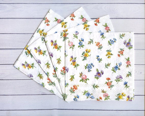 4 paper napkins decoupage small flower paper serviettes floral etsy image 0 mightylinksfo