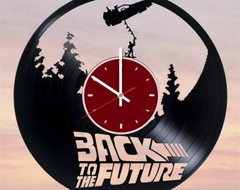 Back to Future vinyl wall clock Back Future wall clock Back to Future gifts DeLorean wall decor DeLorean time machine wall clock