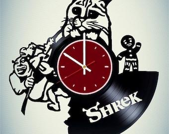 Cute Cat Shrek vinyl wall clock Shrek wall clock Shrek gift Shrek wall decor Shrek wall art Princess Fiona wall clock DreamWorks clock