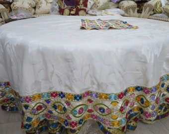 Tablecloth And 12 Napkins, 180cm Tablecloth, Moroccan Embroidery,  Embroidered Table Linens, Table Settings, Party Decor