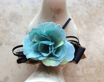 FREE SHIPPING Wedding Blue Floral Rose Black Ribbon Bow Barrette