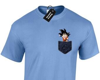 8ad15926f7bc Goten Goku Pocket Mens T-Shirt Unisex Dragon Ball Super Saiyan Z Vegeta DBZ  Cartoon Anime Geek Cool Present Gift Idea