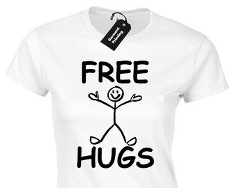 FREE HUGS STICKMAN HOODY HOODIE FUNNY PRINTED CUTE DESIGN JOKE