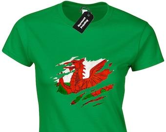 Welsh Flag Slash Ladies T-Shirt Womens Cool Wales Football Rugby Fan  Patriotic St David Cymru Dragon Design Present Gift a3c167168